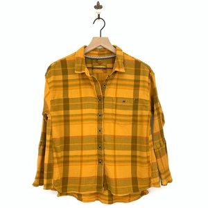 Prana Yellow Plaid Fillary Button Down Top XS
